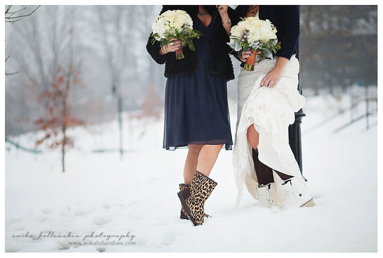bride in snow with boots