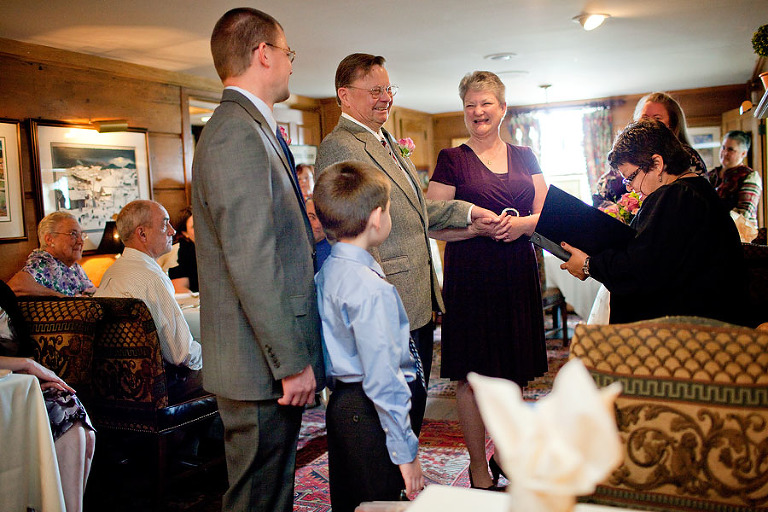 wedding ceremony in the Keeping Room, Bedford Village Inn