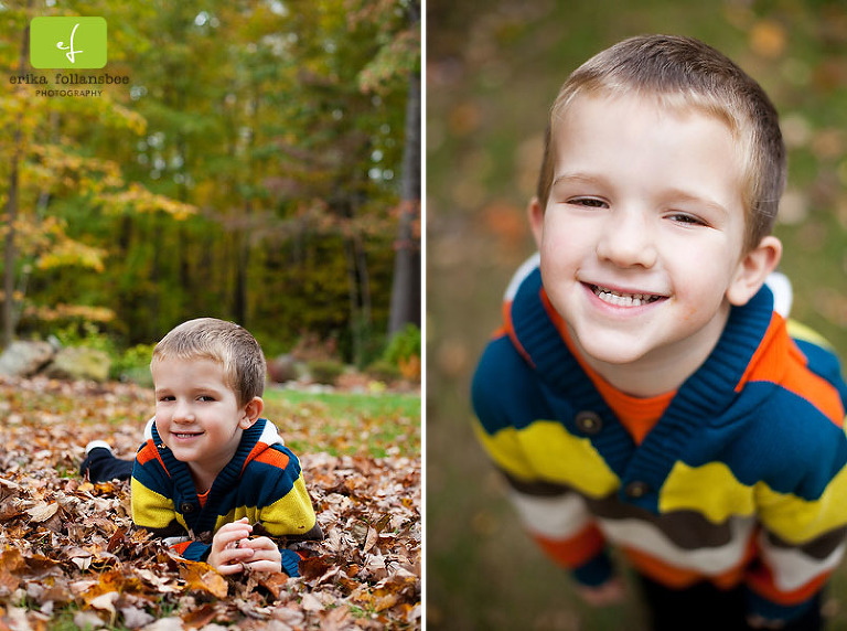 Boy in Autumn Leaves Portrait