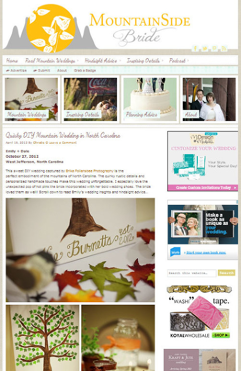 published on MountainSide Bride