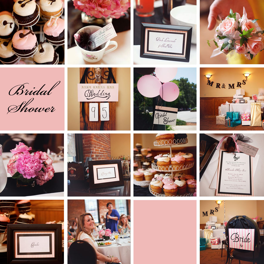 pink and black bridal shower