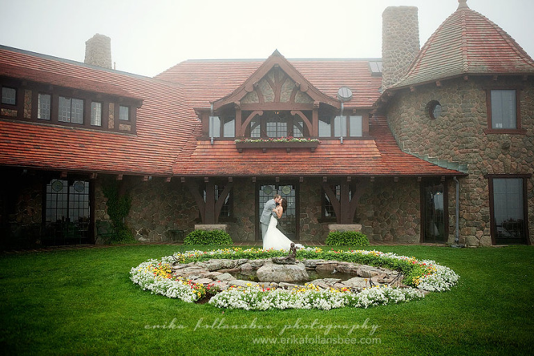 Bride and Groom in the fog at Castle in the Clouds | NH Wedding
