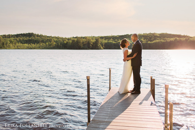 Gorham Pond, Dunbarton NH, Wedding photo sunset
