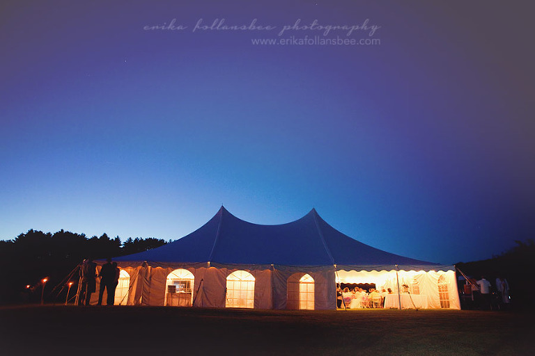 reception tent sunset night sky NH