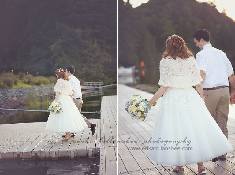 NH bride and groom on dock at sunset