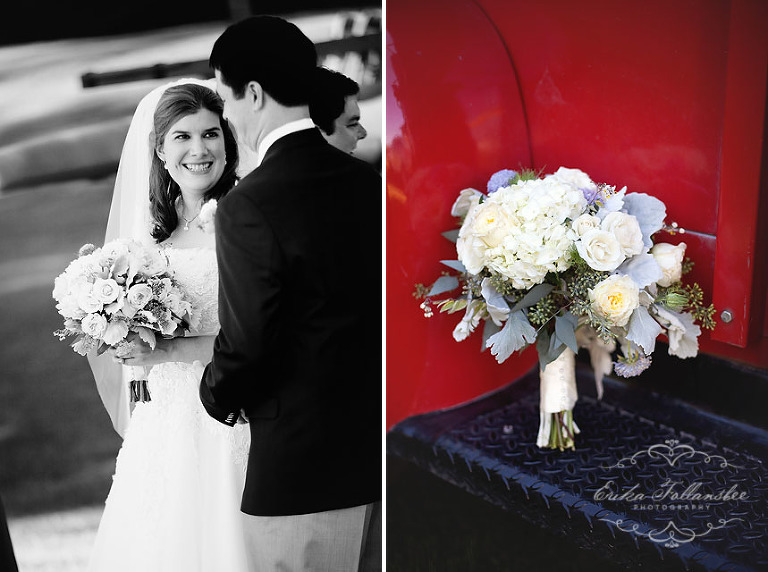 hanover NH bride bouquet on red truck