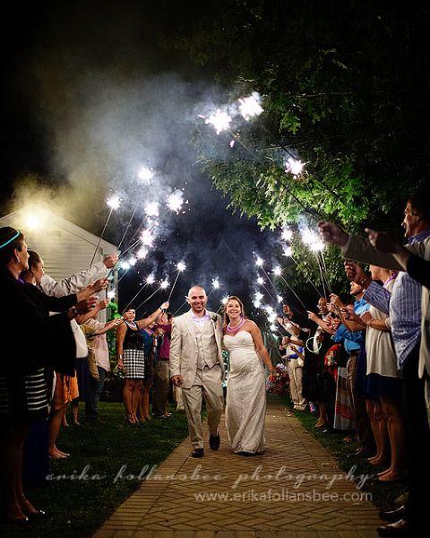 mile away wedding sparklers send off