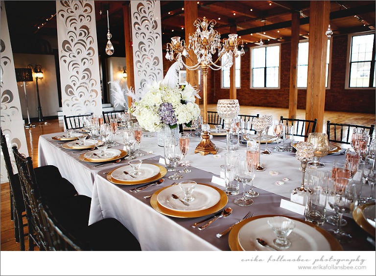Exquisite wedding table settings at La Piece, Tilton, NH