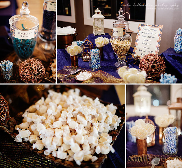 la piece wedding photos candy table