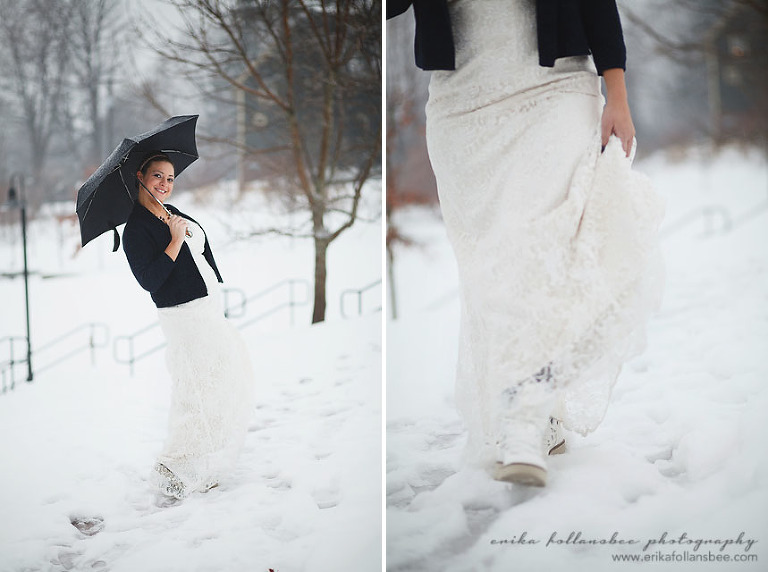 bride walking in the snow with boots