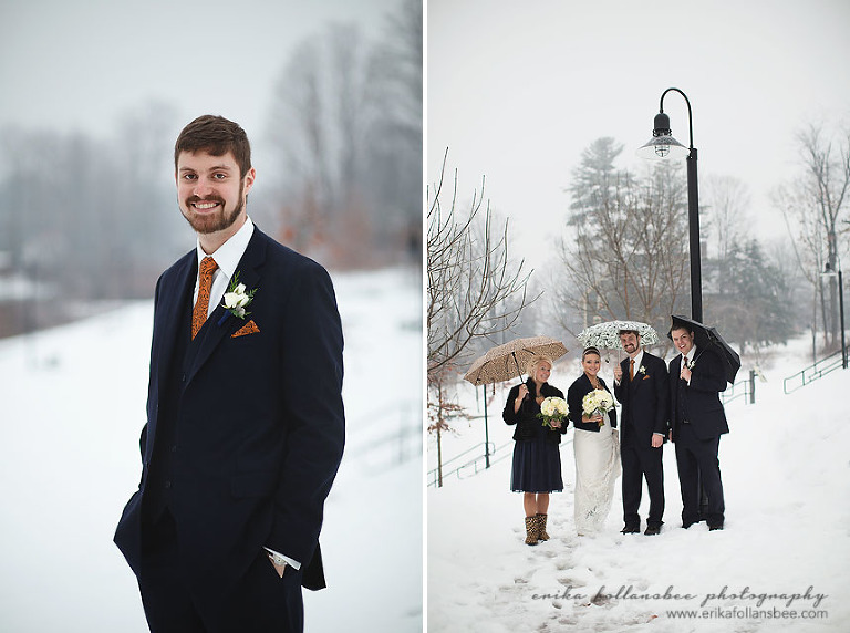 pictures of wedding party in the snow