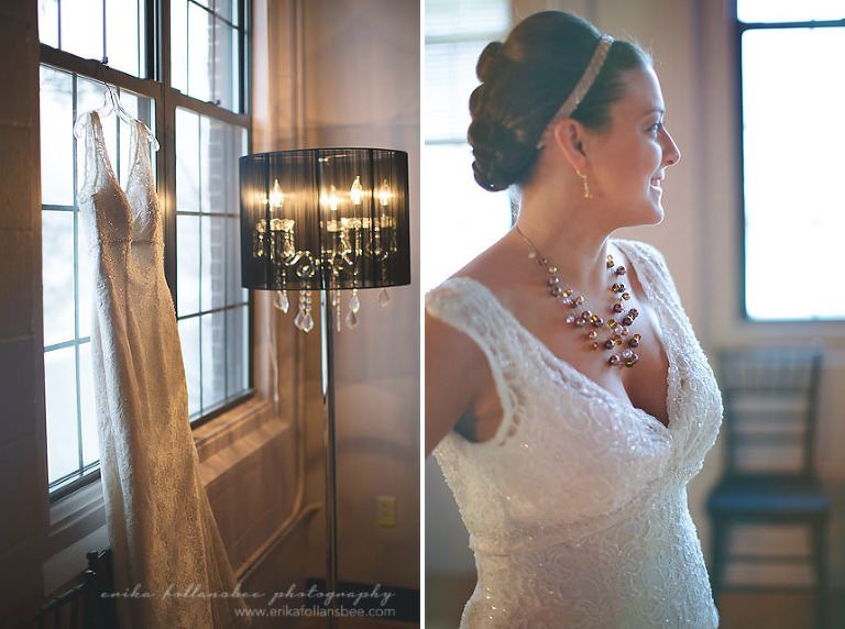 beautiful bride with gown hanging by window