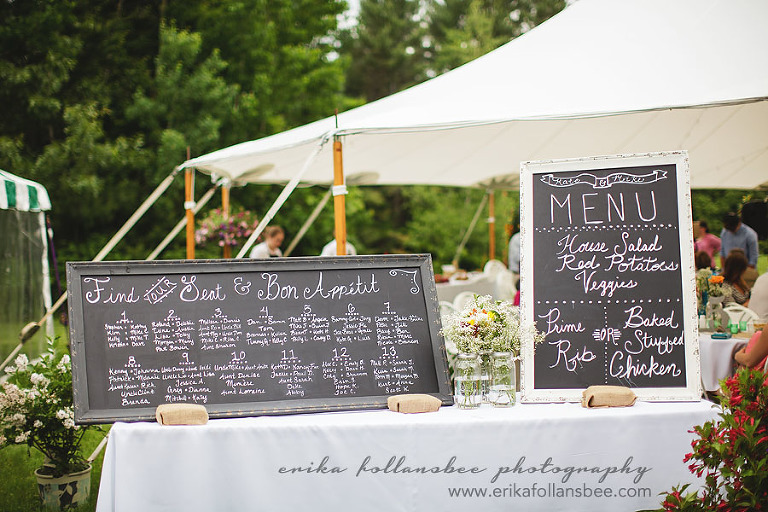 NH henniker country rustic wedding chalkboard menu