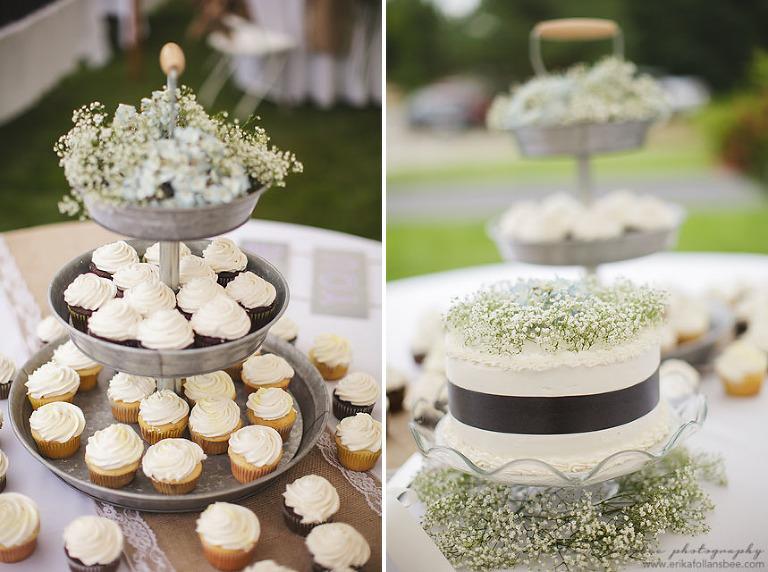 NH rustic wedding cupcake tower