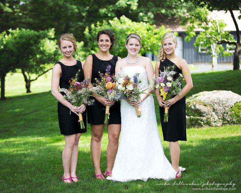 NH wedding bridesmaids wildflower bouquets