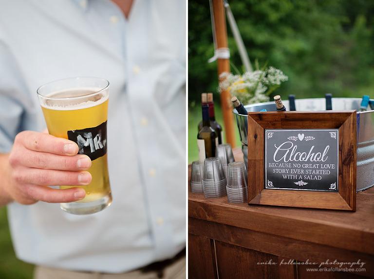 Handmade bar at rustic tented wedding