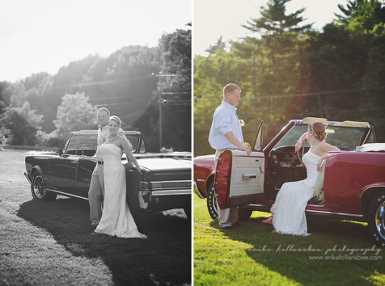 bride and groom, classic car GTO