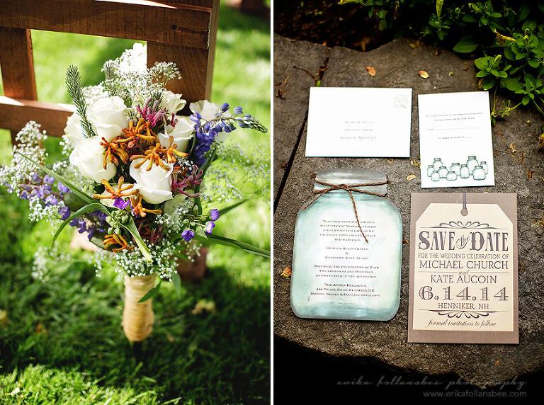 wildflower bouquet + mason jar invitations