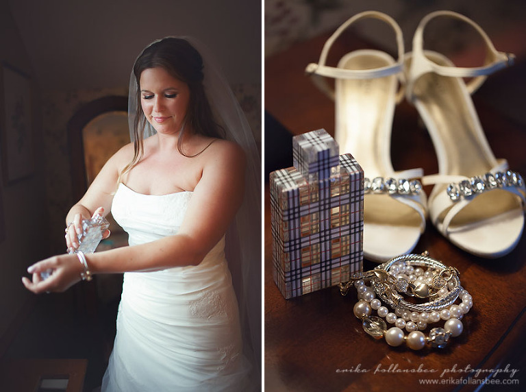 bride puts on perfume before her wedding at The Publick House, Sturbridge MA