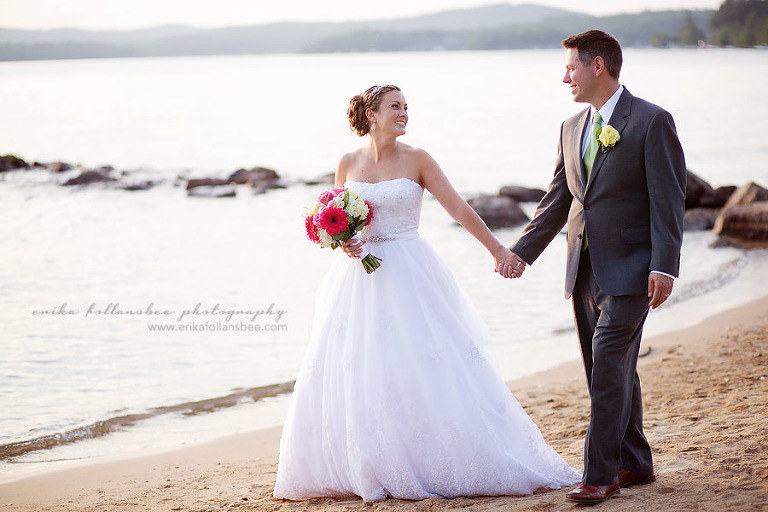 bride and groom walking on beach in sunset, Margate Resort NH