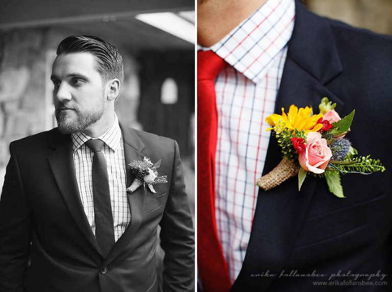 groom with red tie for July 4th wedding