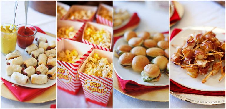 Fun American-themed wedding appetizers like mini cheeseburgers, hot dogs, popcorn