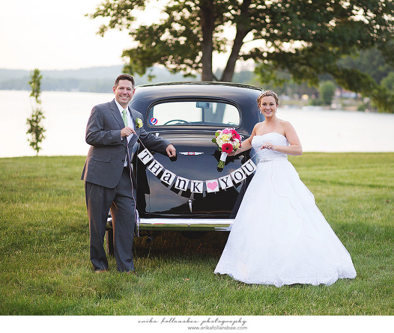 wedding thank you banner with 1937 chevy master classic car