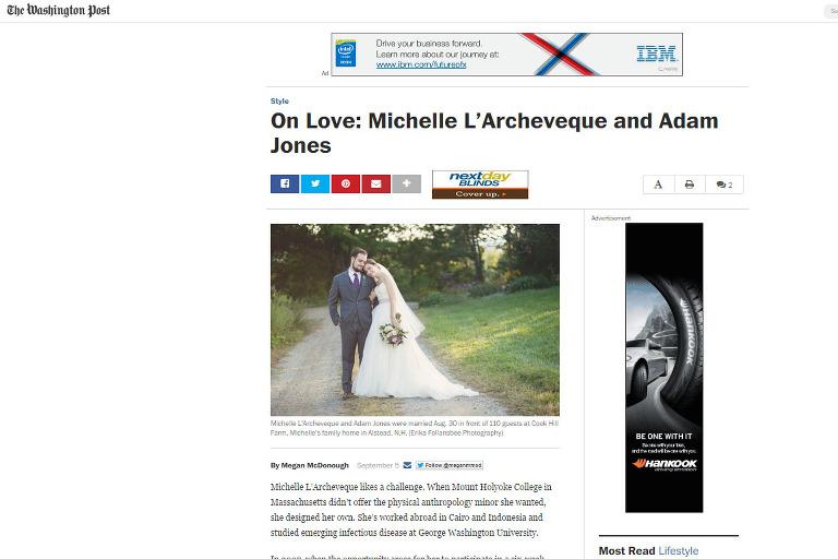 washington post on love wedding feature