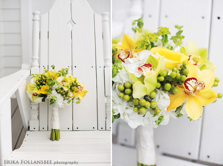 yellow orchids green hypericum white hydrangea wedding bouquet