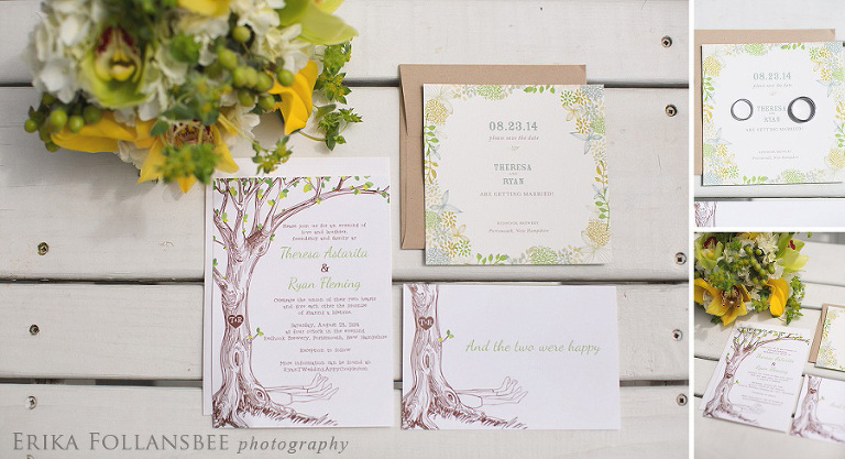 yellow and green invitations, rustic tree theme