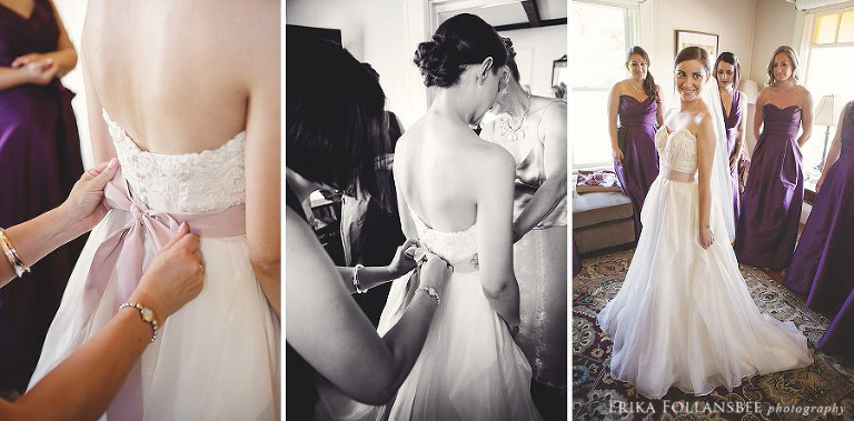 beautiful bride getting dressed for her wedding