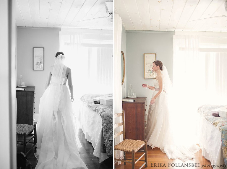 bride looking at herself in the mirror of a sunlight filled bedroom