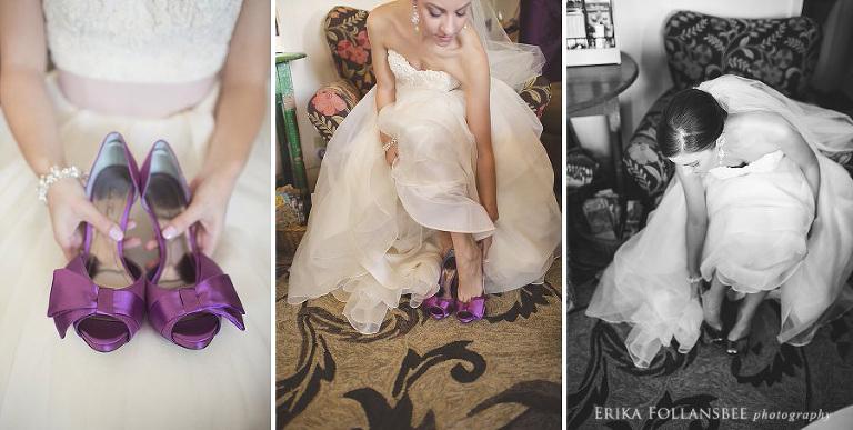 beautiful bride putting on wedding shoes
