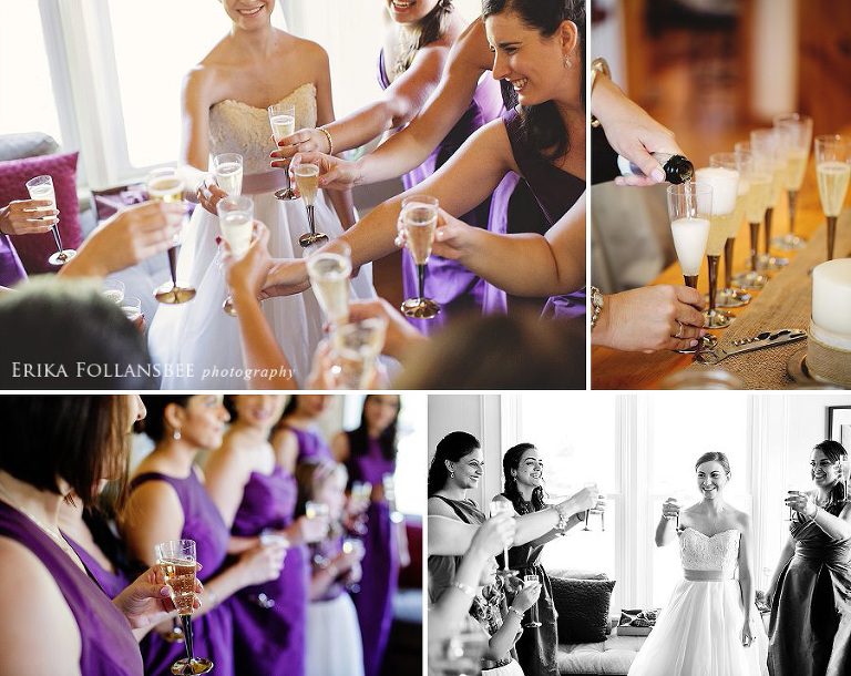 champagne toast with bride and bridesmaids