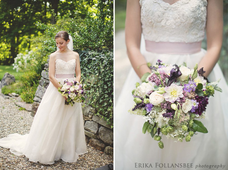 Bridal portraits. Watters gown with lavender sash.