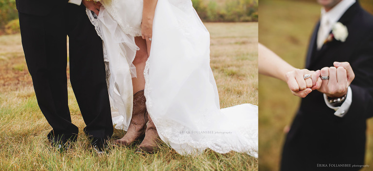 Rustic NH Bride with Cowboy boots | Holding hands with wedding rings