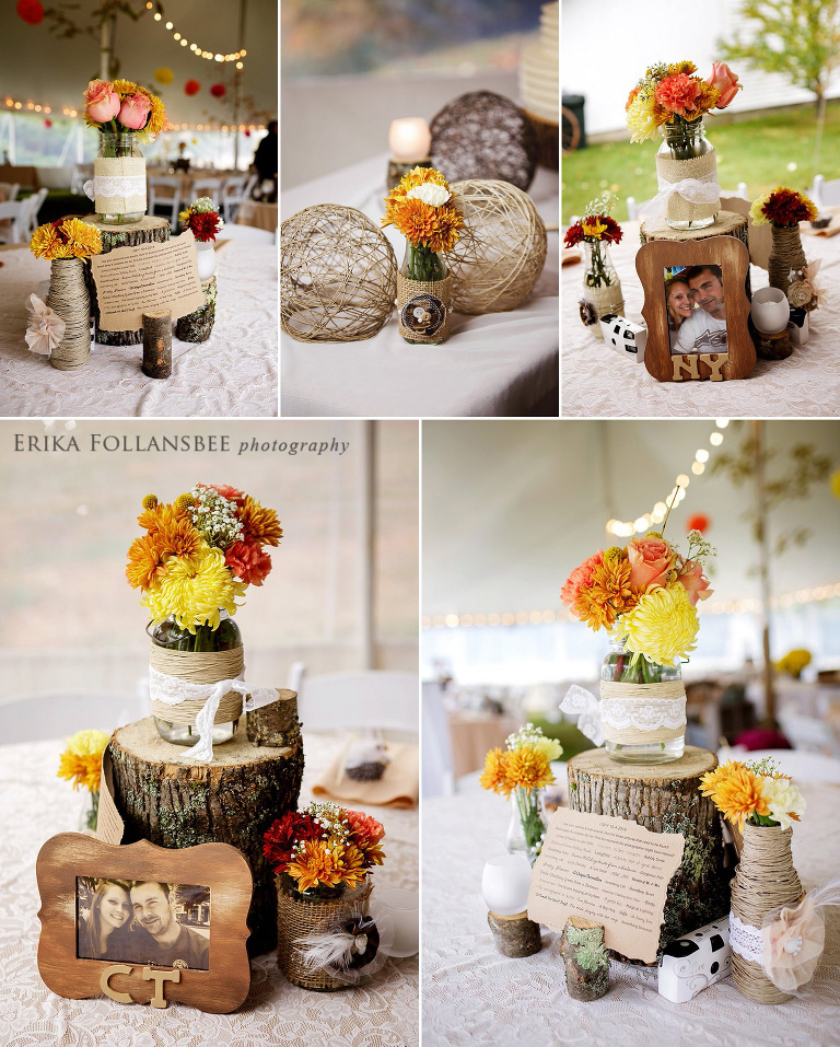 Meadow Wind B&B Fall Wedding | DIY Rustic Crafty Centerpieces