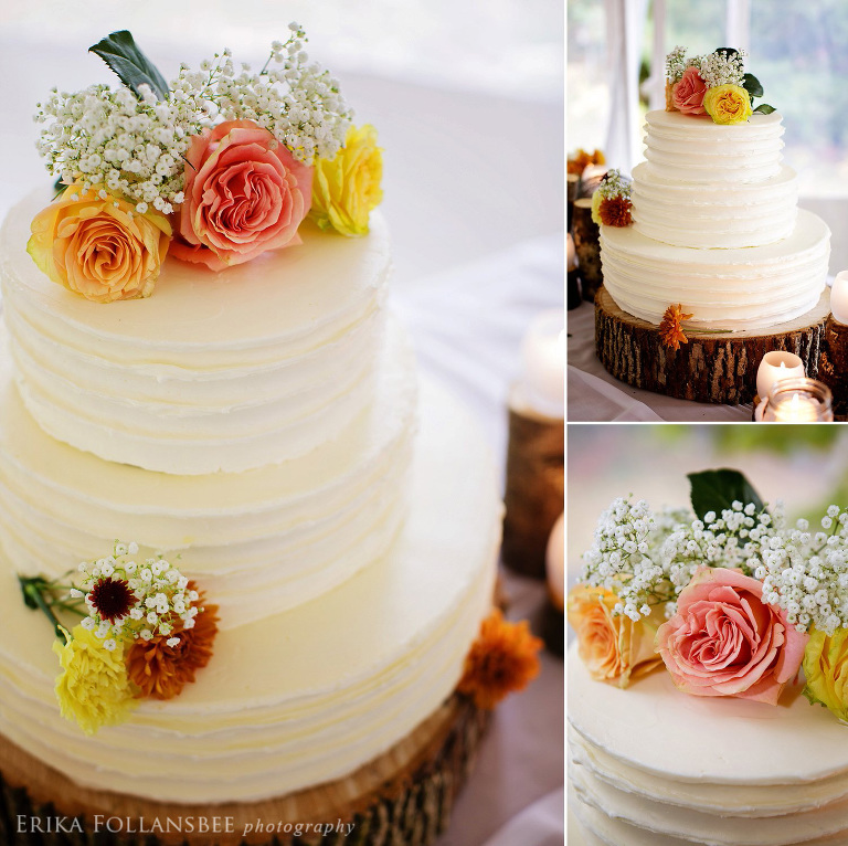 Meadow Wind B&B | Rough Frosted Rustic Wedding Cake | Lou's Restaurant