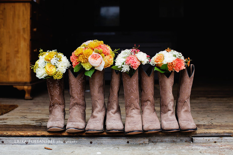 Cowboy boots stuffed with bridal bouquets | NH Rustic Wedding