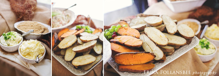 Wedding Reception Baked Potato Bar  by Tracie Nugent Catering