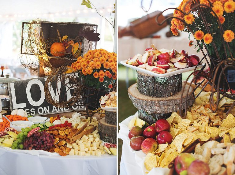 Amazing Appetizer Table Display, NH Rustic Wedding, Tracie Nugent catering