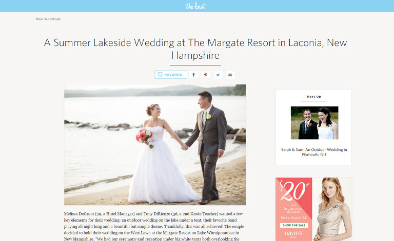 Margate Resort NH Wedding Featured on The Knot
