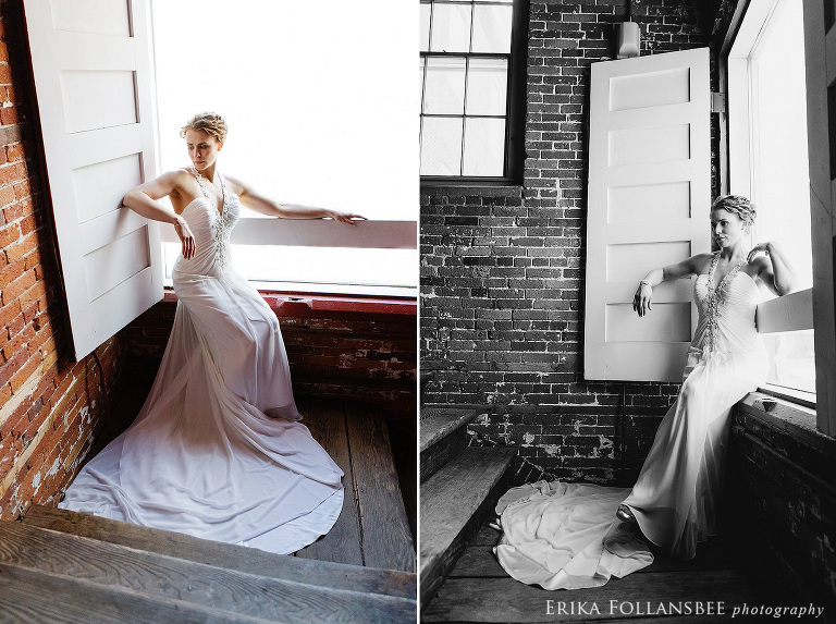 belknap mill wedding photo bride in window (1)