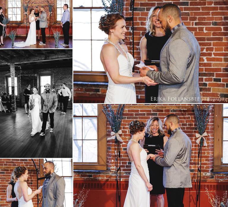 wedding ceremony in historic belknap mill laconia NH