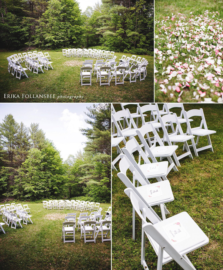 Ceremony seating arranged in concentric circles at Dexter's Inn, Sunapee NH