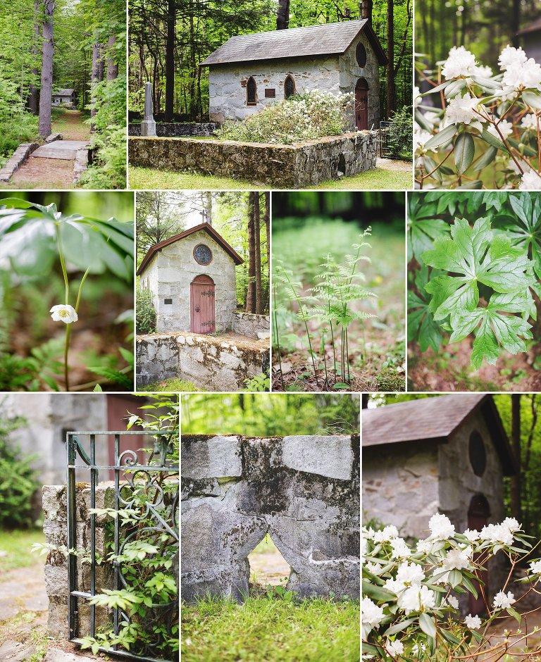 Beautiful stone church hidden in the woods at Dexter's Inn, Sunapee NH