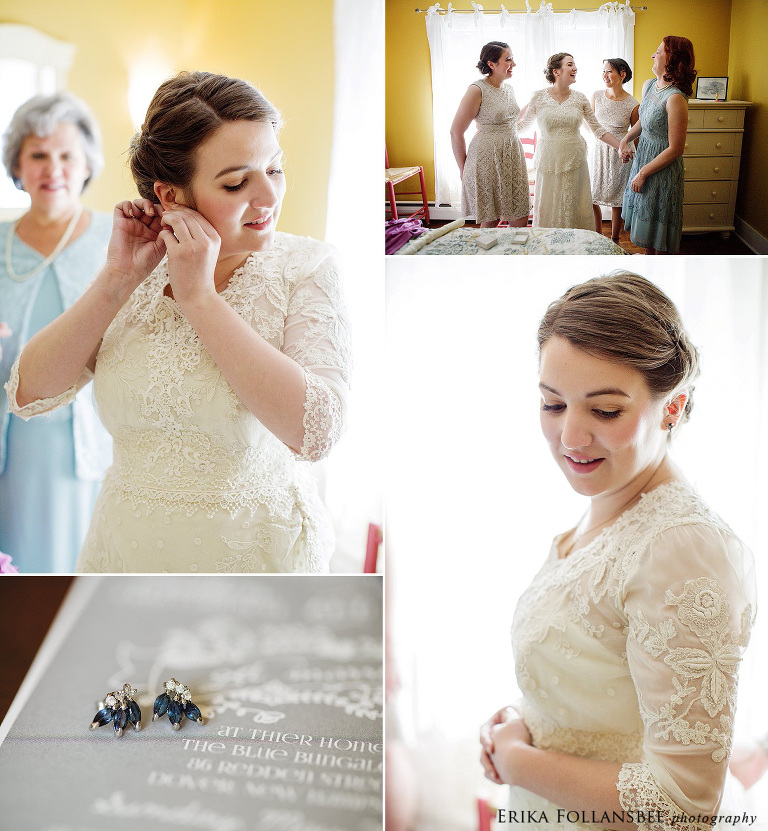 bride in antique lace gown and vintage sapphire earrings