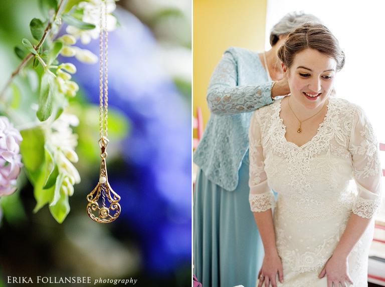 bride wearing 4th generation wedding necklace