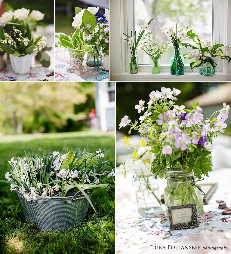 garden style vintage backyard wedding flowers NH