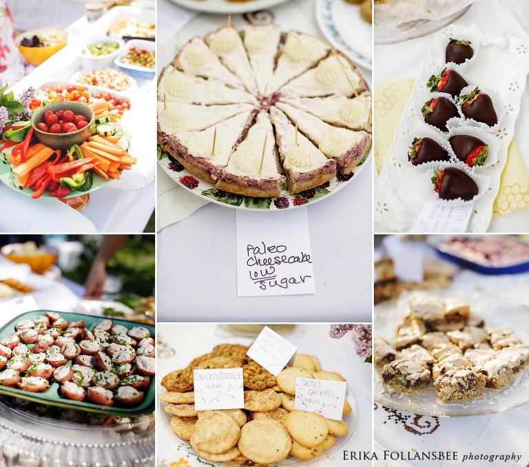 potluck style backyard wedding reception